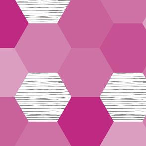 hexagon wholecloth // raspberry