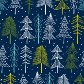 Oh' Christmas Tree Navy Blue