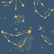Zodiac Constellations in Neptune Blue
