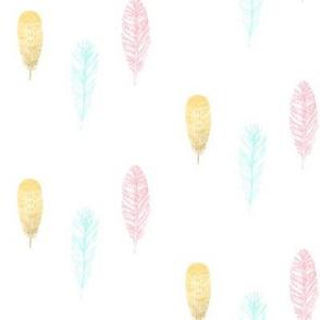 Falling Feathers - Gold Foil, Pink, Aqua