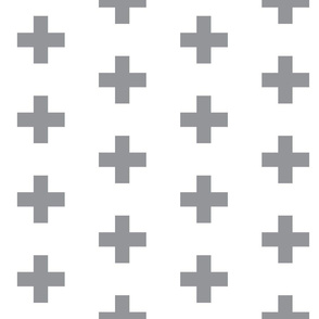 Grey Crosses on White - Grey Plus Sign