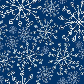 Frost Snowflakes Midnight Blue