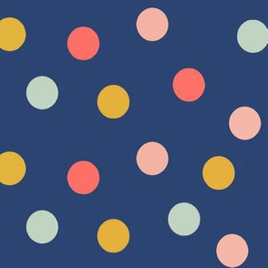 Navy, Coral and Mint Dots