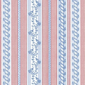 Marie Antoinette Floral Ticking ~ Patriot
