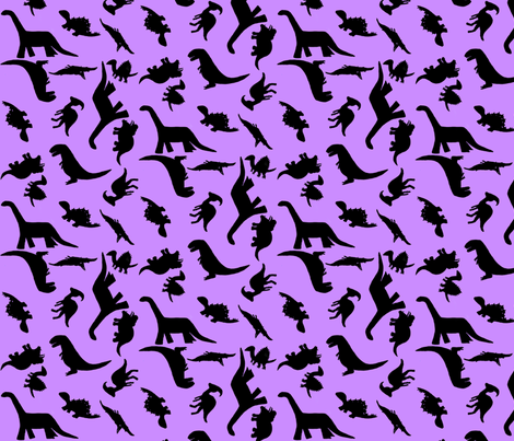 Dino polka large light purple fabric kimberlehi for Purple dinosaur fabric