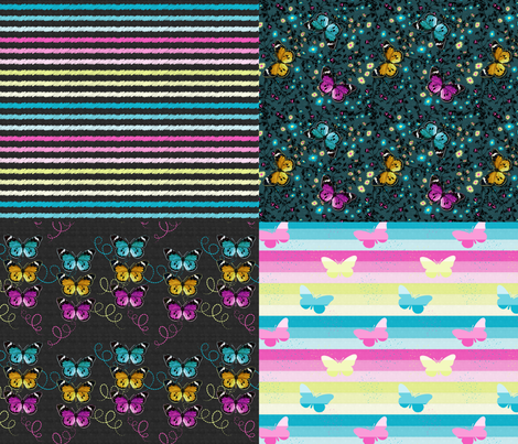 3 Colorful Butterflies Collection