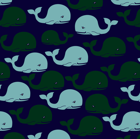 Whale pattern 3 bluebkgd fabric lilithdeanu spoonflower for Whale fabric