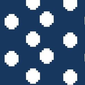 Pixelated Polka Dots in Blue