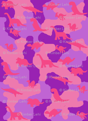 Dino camo pink and purple fabric kimberlehi spoonflower for Purple dinosaur fabric