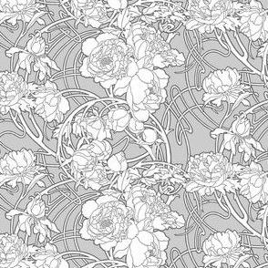 Nouveau Peony, Grey & White