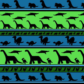 Dinosaur stripes blue green