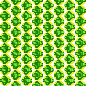 Green Fish Yellow Bubbles