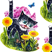 vintage retro kitsch cats kittens pussy gardens flowers butterfly butterflies whimsical