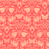 coral butterfly damask
