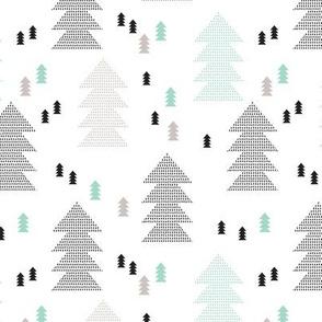 Geometric scandinavian style nordic christmas tree forest theme