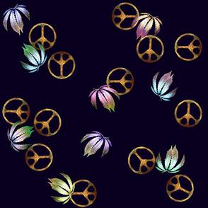 Peace Signs Plus Fan Leaves