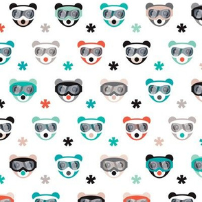 Winter wonderland grizzly bears with snow and ski goggles on winter snowboard adventure gender neutral