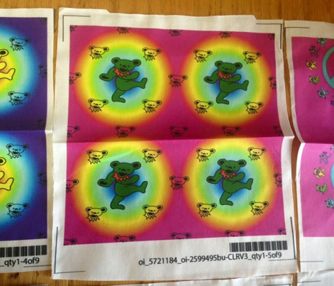 "4x4 Mini bear head Pink rainbow Background with Large 2"" green & red Dancing bear Grateful Dead"