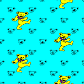 "4x4 Mini bear head Aqua Blue Background with Large 2"" Yellow and Purple Dancing bear Grateful Dead"