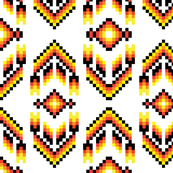 Native American Digital Bead Pattern Black Orange and Solar Yellow