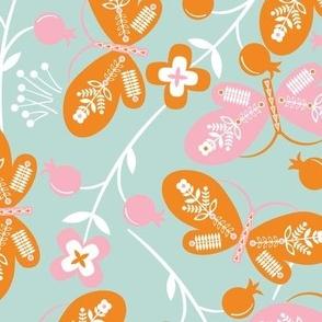 Butterflies - Orange and PInk