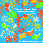 A Library is a Garden of Books Blue background