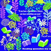 A Library is a Garden of Books more blue