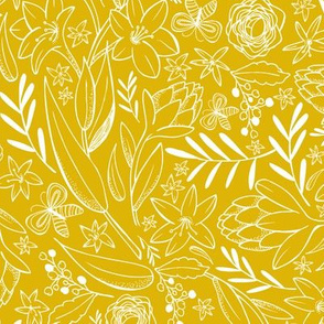 Botanical Sketchbook Floral Golden Yellow