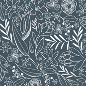 Botanical Sketchbook Midnight Blue