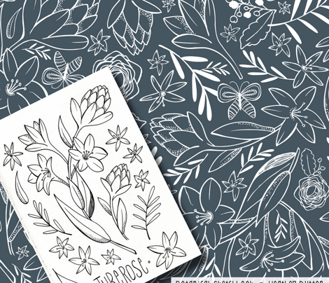 Botanical Sketchbook Floral Midnight Blue