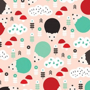 Hedgehog autumn garden with flowers clouds and fall elements gender neutral kids pattern mint and red