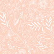Botanical Sketchbook Floral Pink Blush