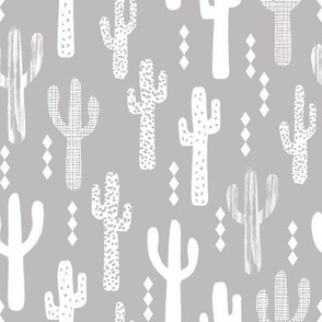 cactus greyscale grey and white grid tropical kids design