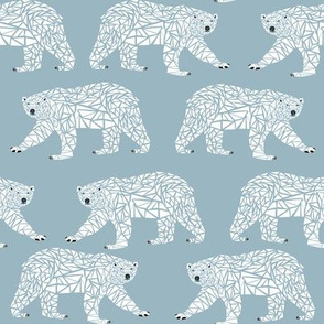 geometric polar bear blue