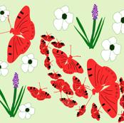 Red Butterflies on green