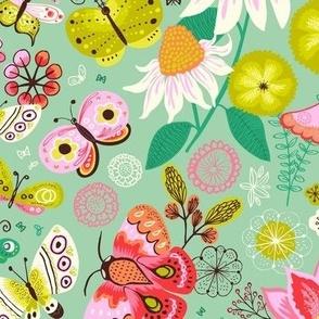 Summer Butterflies - soft green field