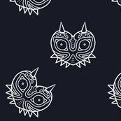 Majora Inspired Mask Fabric - Navy and White