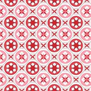 Chinoiserie / Flower Tiles Red