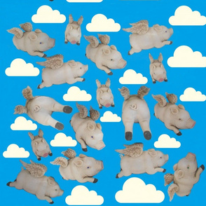 flying pigs with clouds