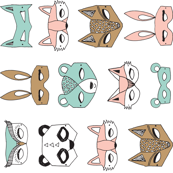 Animal Masks - Pale Turquoise, Pale Pink (Tiny version) Railroad by Andrea Lauren