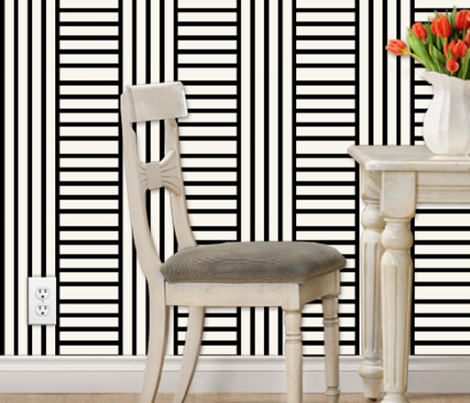 Geometric stripe play in black and off-white by Su_G