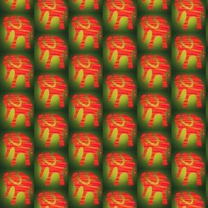 Orange Elephant Green Jungle