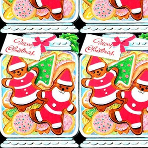 Merry Christmas cookies biscuits gingerbread man Santa Claus Santarina father mother mrs jars pastry pastries mistletoe ribbons gifts presents