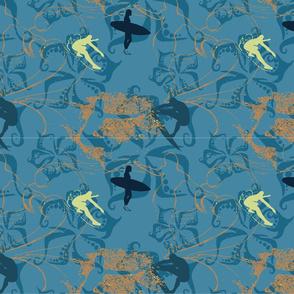 Tiki Surfer  - Blue + Org