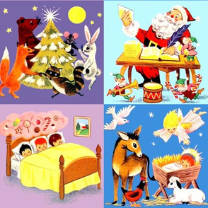 cheater quilt Christmas trees foxes bears rabbits racoon mouse moon stars Santa Claus Elf elves trumpets drums candy canes children gifts sweets letters lists dreams lollipops pastries pastry sleeping beds angels doves donkeys roosters sheep lambs baby ba