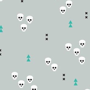 Skulls geometric halloween horror illustration in winter blue gender neutral