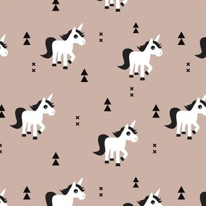 Geometric unicorn fantasy kids illustration with arrows in beige pastel