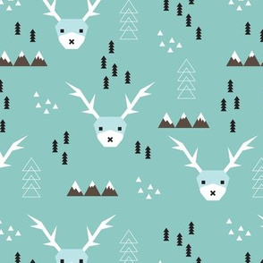 Scandinavian style reindeer winter winderland with pine trees and mountain woodland snow abstract illustration