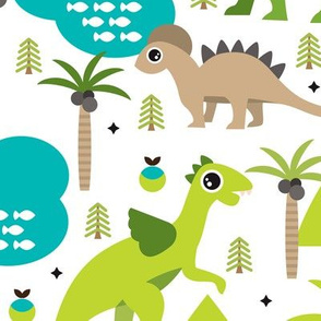 Cute dinosaur woodland illustration pattern cute dino nature print for kids and cool boys XL