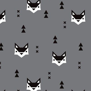 Cute geometric fox illustration scandinavian style fall pattern design in black white and gray
